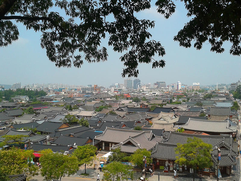 Aerial view of the Jeonju, a traditional Korean village. stock photos