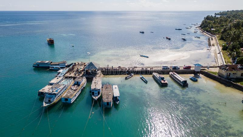 Aerial view from jetty with many boat docking stock image