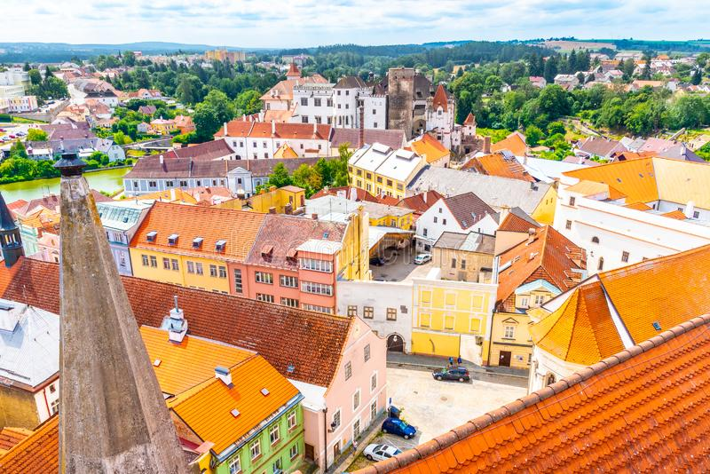 Aerial view of Jindrichuv Hradec from church tower, Czech Republic.  royalty free stock image