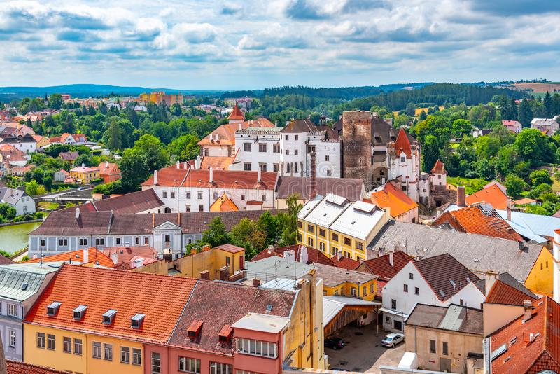 Aerial view of Jindrichuv Hradec from church tower, Czech Republic.  stock photos