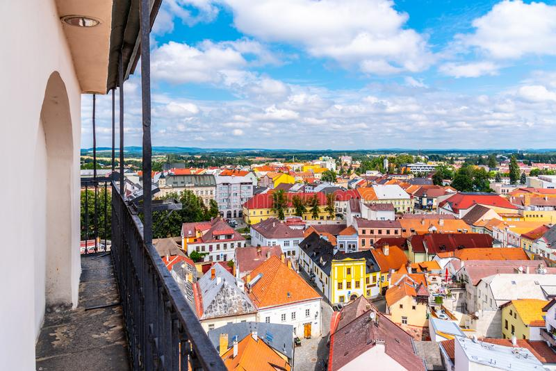 Aerial view of Jindrichuv Hradec from church tower, Czech Republic.  stock photography