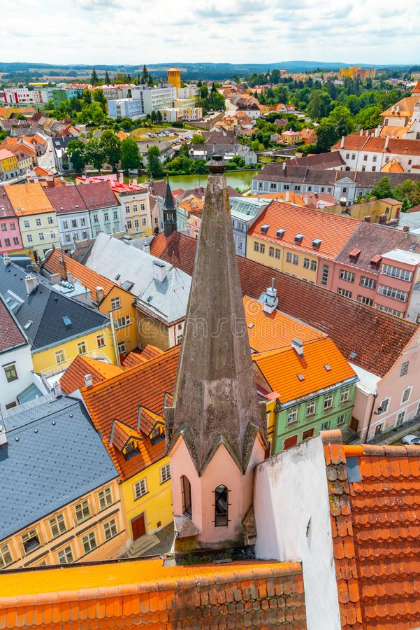 Aerial view of Jindrichuv Hradec from church tower, Czech Republic.  stock images