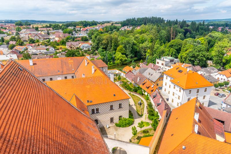 Aerial view of Jindrichuv Hradec from church tower, Czech Republic.  royalty free stock photo
