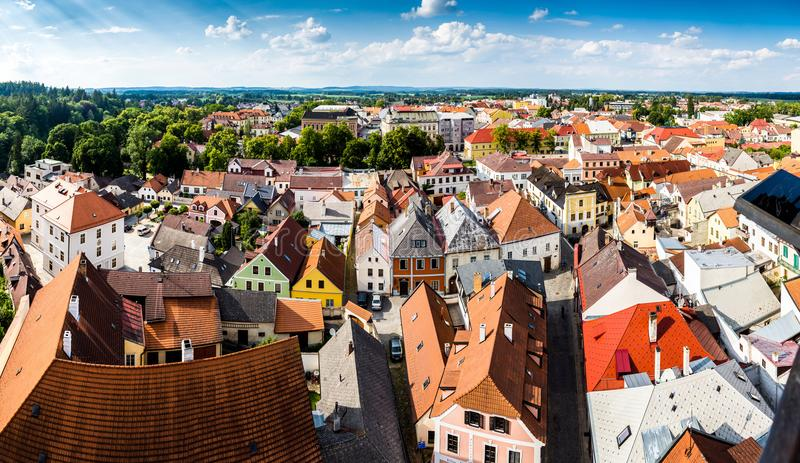 Aerial view of Jindrichuv Hradec. City in South Bohemian region, Czech Republic, Central Europe. stock images