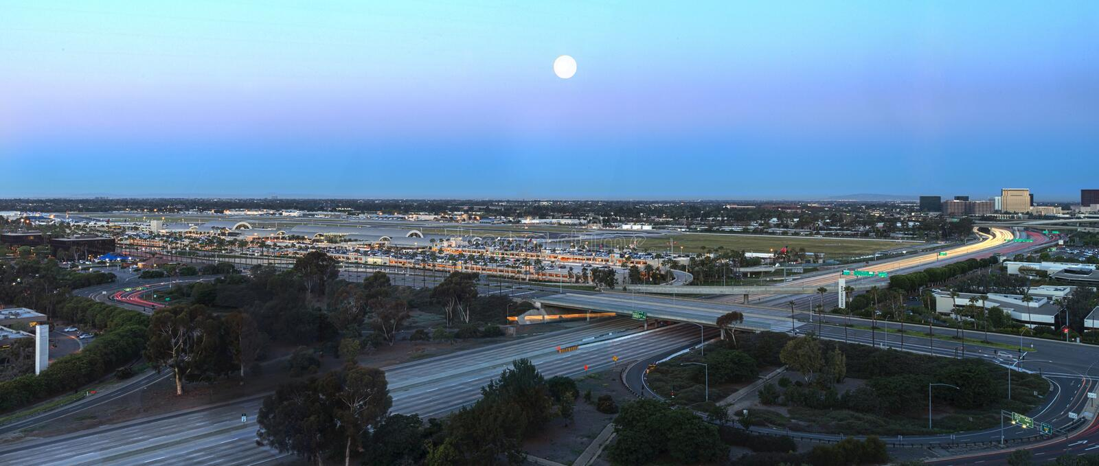 Aerial view of John Wayne Airport in Orange County royalty free stock photos