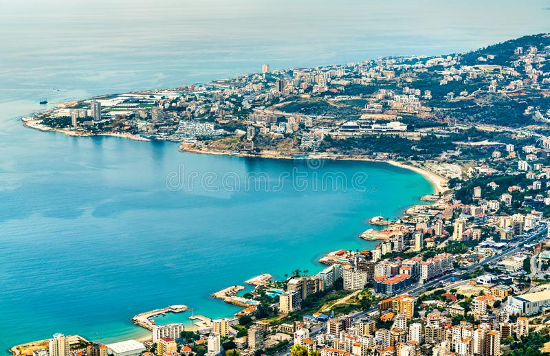 Aerial view of Jounieh in Lebanon. Aerial view of Jounieh from Harissa. Lebanon, the Middle East stock images