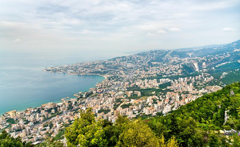 Aerial view of Jounieh in Lebanon. Aerial view of Jounieh from Harissa. Lebanon, the Middle East stock photos