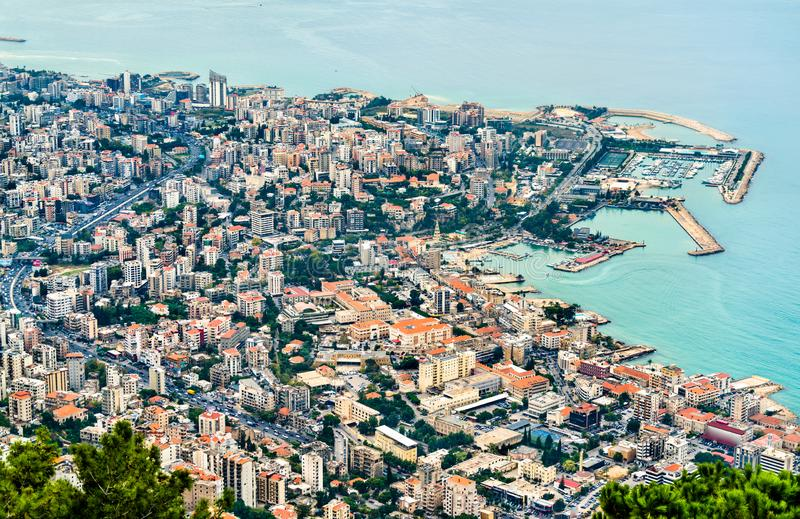 Aerial view of Jounieh in Lebanon. Aerial view of Jounieh from Harissa. Lebanon, the Middle East royalty free stock images