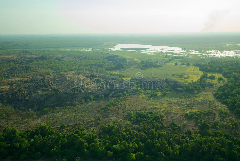 Aerial view of Kakadu National Park. An aerial view of the marshes and ranges of Kakadu National Park, Northern Territory, Australia stock image