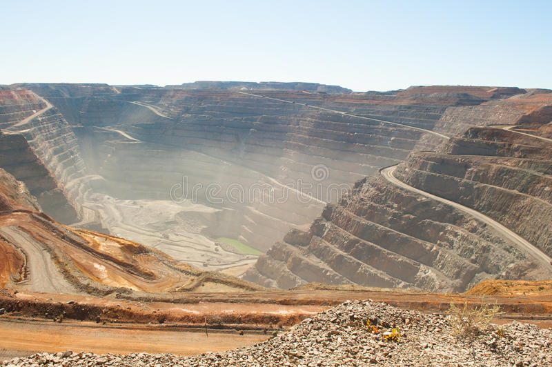 Aerial view Kalgoorlie Super Pit open cut Gold Mine. Panoramic aerial view of Super Pit goldmine in Kalgoorlie, Western Australia, with winding path along edges royalty free stock image