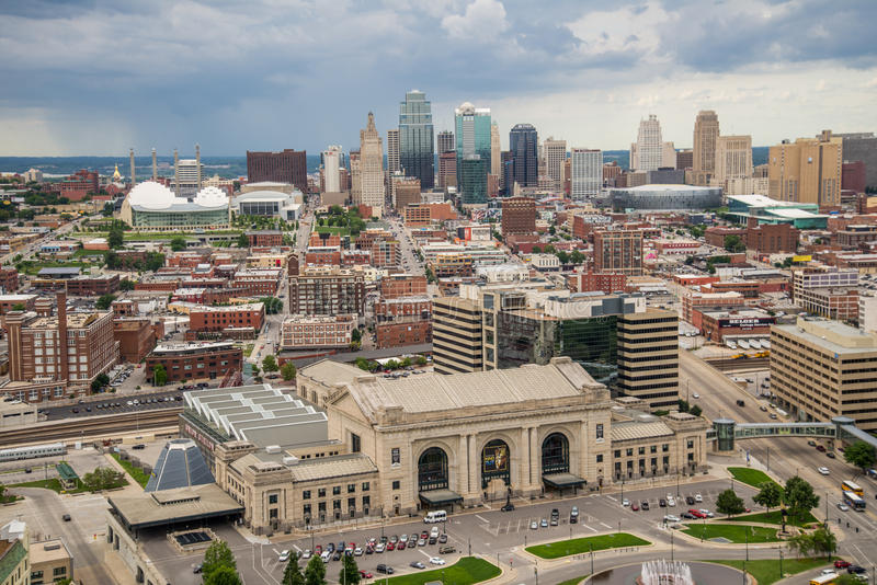 Aerial view of kansas city missouri stock images