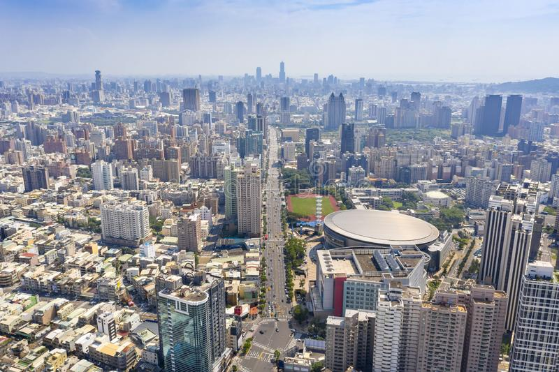 Aerial view of Kaohsiung Arena and cityscapes. royalty free stock photography