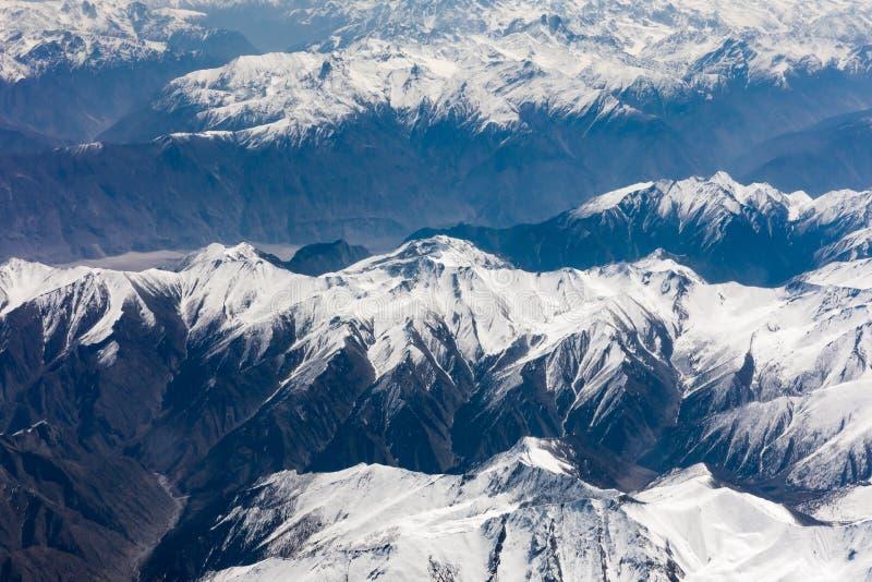 Aerial view of Karakoram or Karakorum mountains. Spanning the borders of Pakistan, India, and China stock image