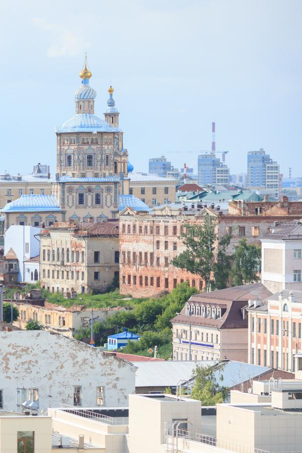 Aerial view of Kazan city. St. John the Baptist Monastery. royalty free stock photos
