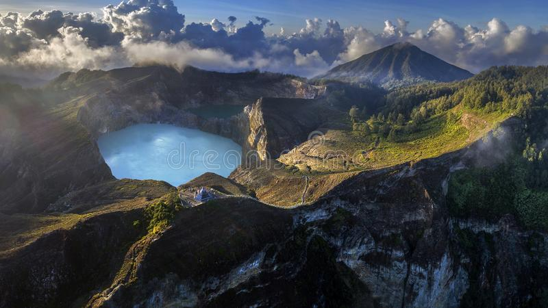 Panoramic Aerial view of Kelimutu volcano and its crater lakes, Indonesia. Aerial view of Kelimutu volcano and its crater lakes, Flores, Indonesia royalty free stock image
