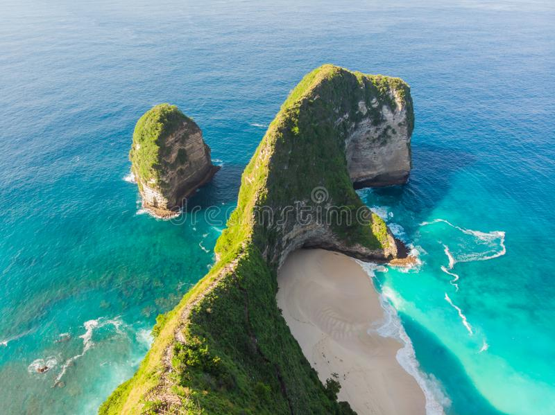 Aerial view Kelingking Beach on Nusa Penida Island, Bali, Indonesia.  stock images