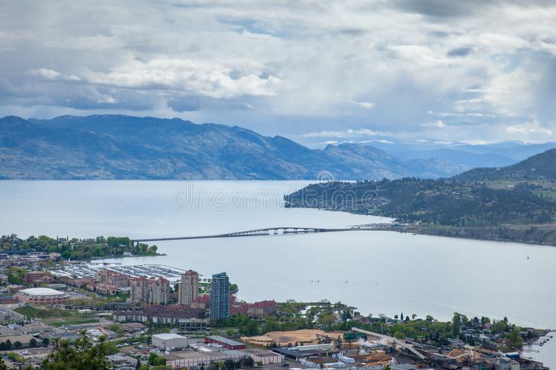 Aerial view of Kelowna from Knox Mountain Park, British Columbia royalty free stock photography