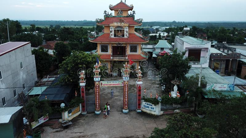 Aerial view of Khanh Tan Pagoda royalty free stock image