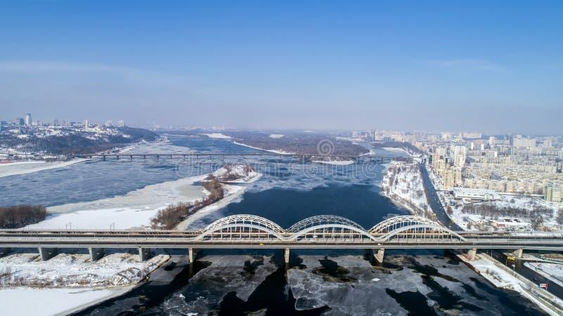 Aerial view of the Kiev city, Ukraine. Dnieper river with bridges. Darnitskiy bridge. Aerial view of the city, Ukraine. Dnieper river with bridges. Darnitskiy royalty free stock images