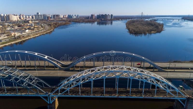 Aerial view of the Kiev city, Ukraine. Dnieper river with bridges. Darnitskiy bridge. Aerial view of the city, Ukraine. Dnieper river with bridges. Darnitskiy royalty free stock photos