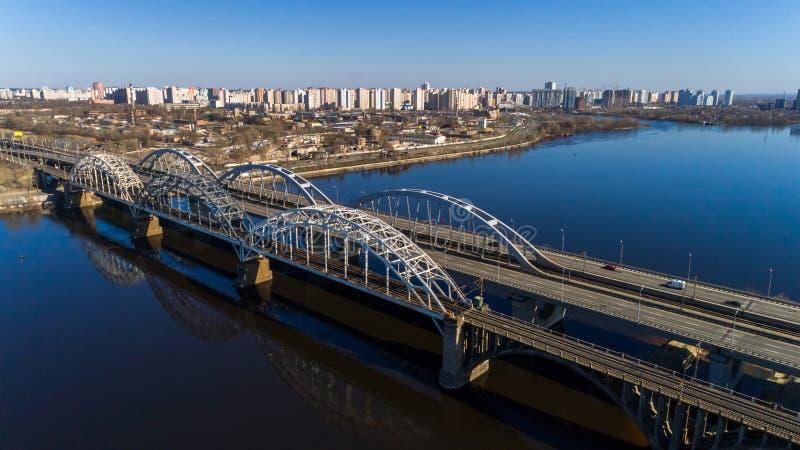 Aerial view of the Kiev city, Ukraine. Dnieper river with bridges. Darnitskiy bridge. Aerial view of the city, Ukraine. Dnieper river with bridges. Darnitskiy stock photography