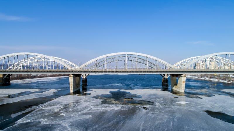 Aerial view of the Kiev city, Ukraine. Dnieper river with bridges. Darnitskiy bridge. Aerial view of the city, Ukraine. Dnieper river with bridges. Darnitskiy stock image