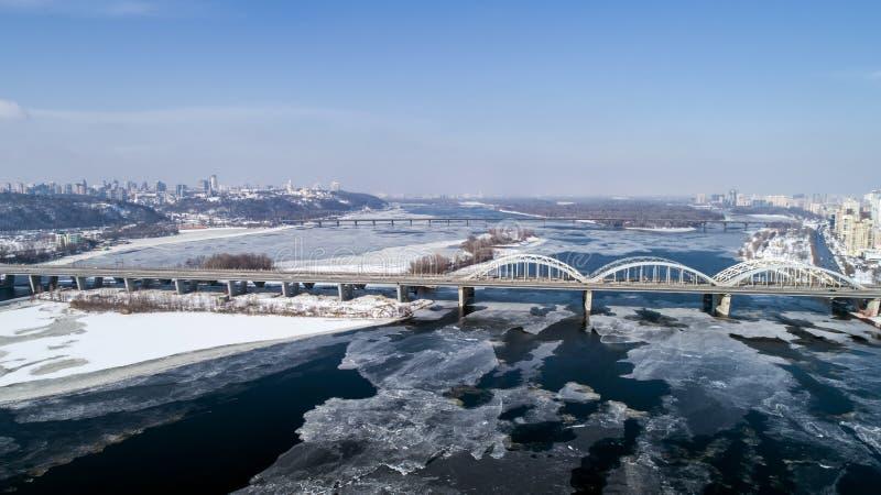 Aerial view of the Kiev city, Ukraine. Dnieper river with bridges. Darnitskiy bridge. Aerial view of the city, Ukraine. Dnieper river with bridges. Darnitskiy stock photo