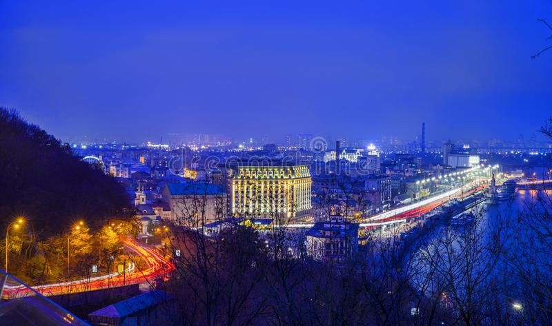 Aerial view of Kiev in night stock photos