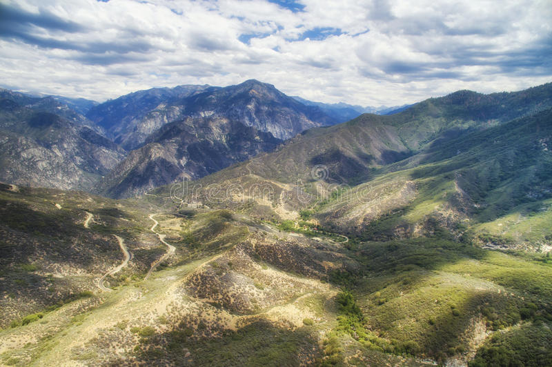 Aerial view of Kings Canyon National park area, USA. Aerial view of Kings Canyon National park area in sunny summer day. Kings Canyon National Park is a national royalty free stock images