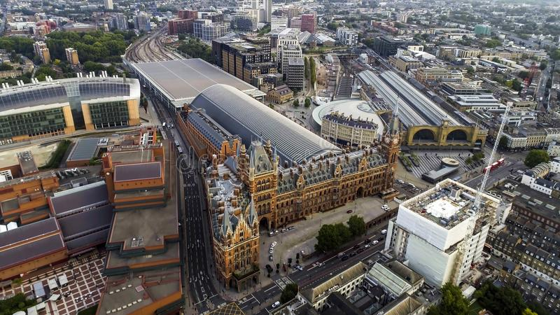 Aerial View of Kings Cross and St Pancras Railway Stations in London, UK royalty free stock photo