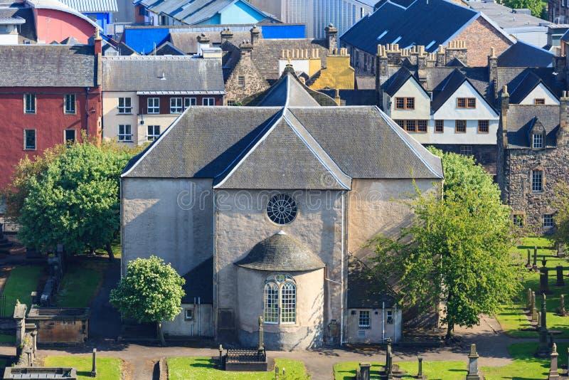 Aerial view of Kirk of the Canongate Edinburgh. Scotland UK royalty free stock photo