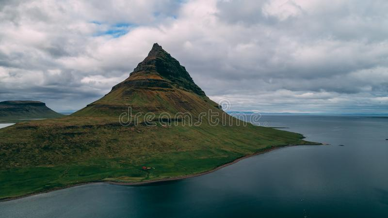 Aerial view of kirkjufell in iceland mountain stock photos