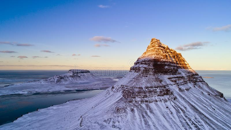 Aerial view of Kirkjufell mountain in winter, Iceland. stock images