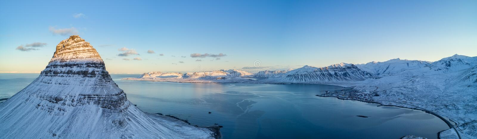 Aerial view of Kirkjufell mountain in winter, Iceland. stock photos