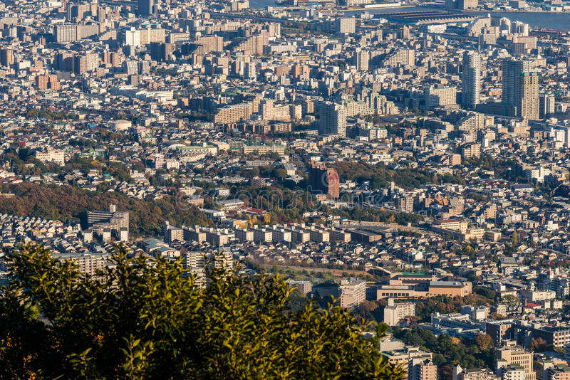 Aerial view of Kobe City,Japan royalty free stock photography