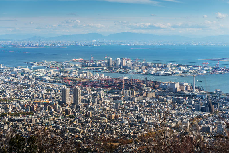 Aerial view of Kobe City royalty free stock photo