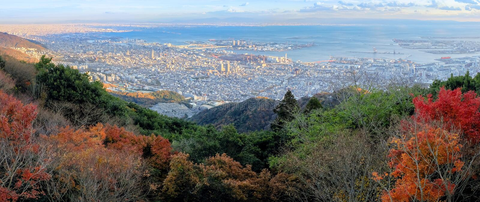 Aerial view of Kobe City from Mount Maya in Autumn season, Japan.  stock photo