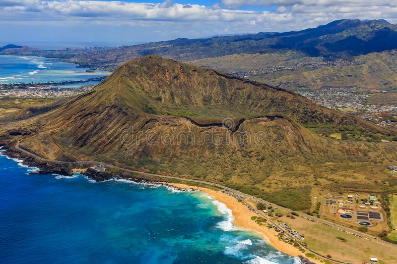 Aerial view of Koko Head volcano crater and lagoon in Honolulu H royalty free stock photos