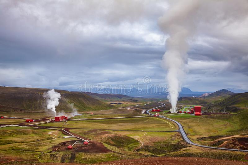 Krafla geothermal power plant aerial view Northeastern Iceland Scandinavia stock photography
