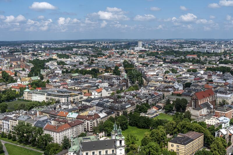 Aerial view of Krakow royalty free stock image