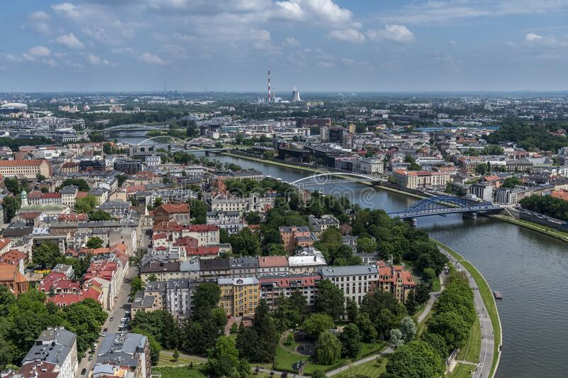 Aerial view of Krakow stock photography