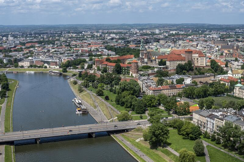 Aerial view of Krakow stock images