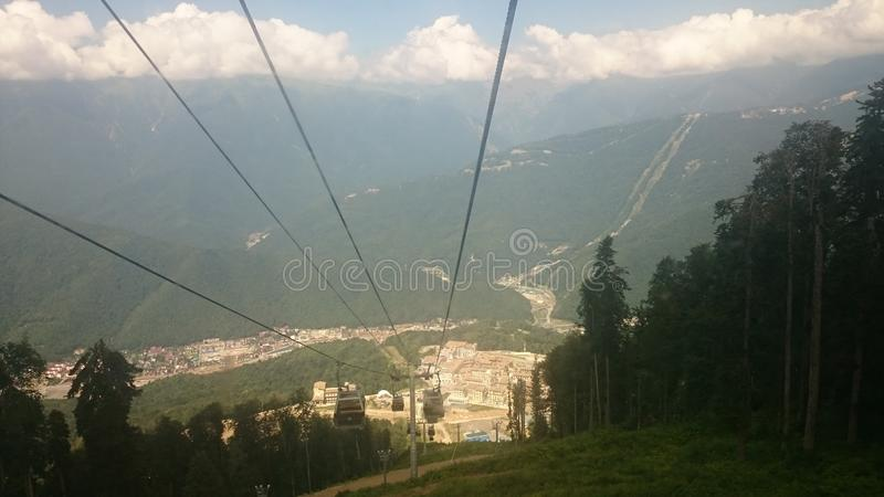 Aerial view of Krasnaya Polyana taken from the cabin of cableway, Russia stock image