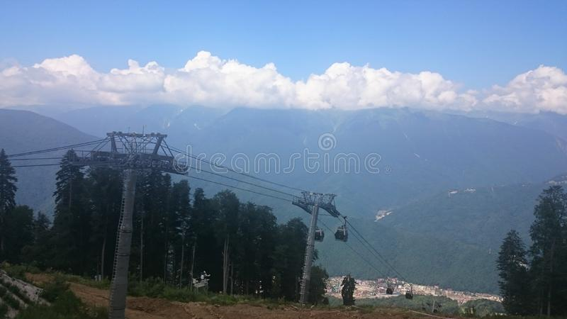 Aerial view of Krasnaya Polyana taken from the cabin of cableway, Russia royalty free stock image