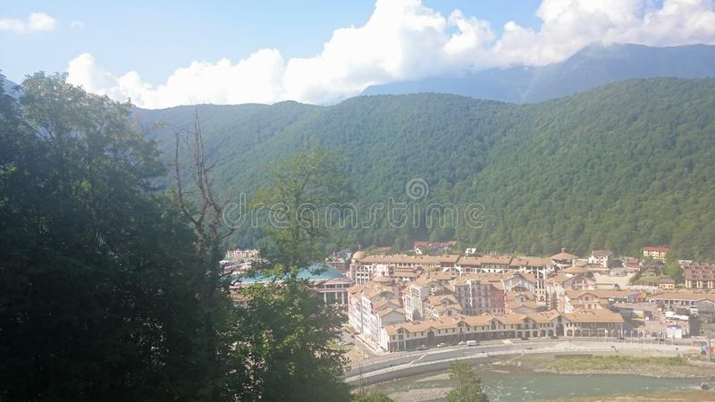 Aerial view of Krasnaya Polyana taken from the cabin of cableway, Russia royalty free stock images