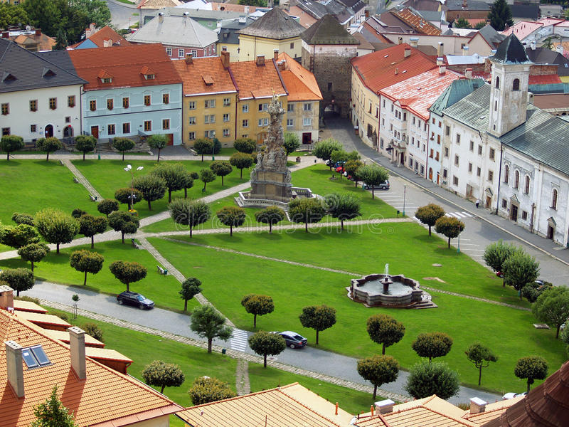 Download Aerial View Of Kremnica Town In Summer Stock Image - Image of roofs, square: 29606907