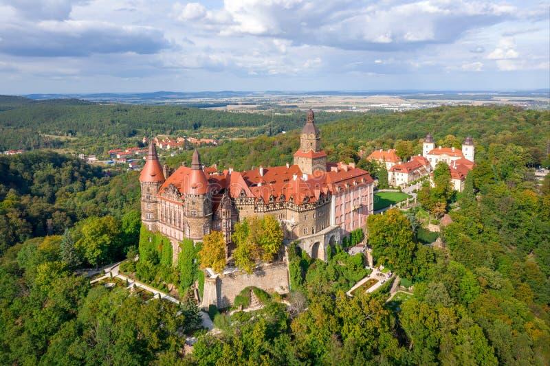 Aerial view of Ksiaz castle, Walbrzych, Poland stock photography