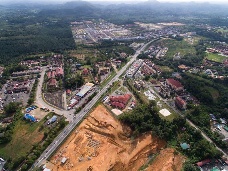 Aerial view of kuala krai gua musang highway located in kuala krai, kelantan, malaysia. And surroundings stock photo
