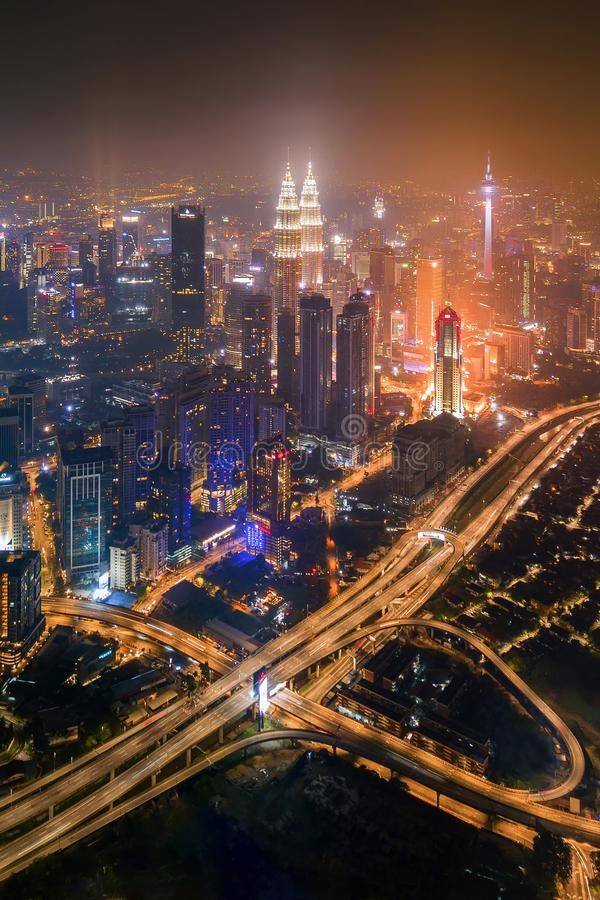 Aerial view of Kuala Lumpur Downtown and highways, Malaysia. Financial district and business centers in smart urban city in Asia. stock photography