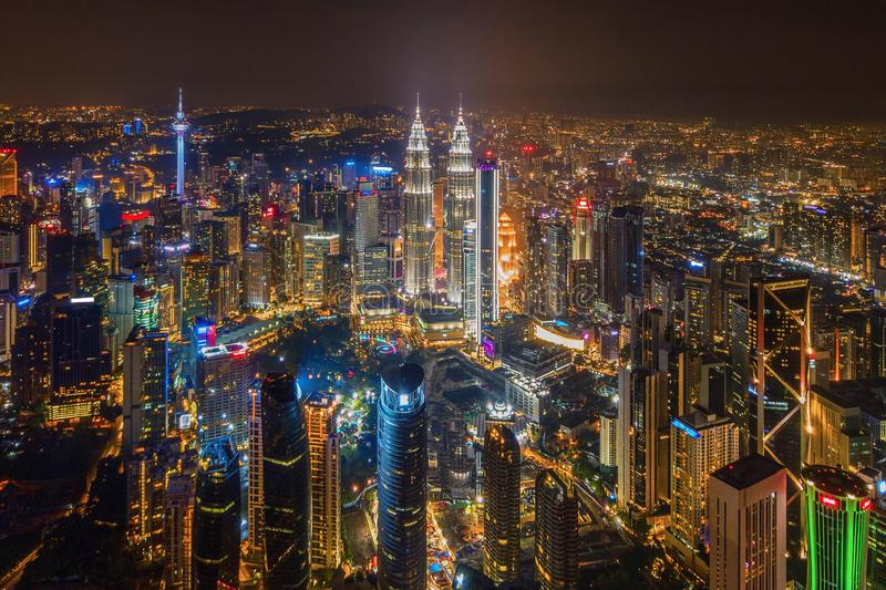 Aerial view of Kuala Lumpur Downtown, Malaysia. Financial district and business centers in smart urban city in Asia. Skyscraper. And high-rise buildings at stock photo